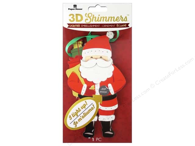 Paper House Sticker 3D LED Shimmer Santa