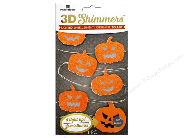 Paper House Sticker 3D LED Shimmer Pumpkin Garland
