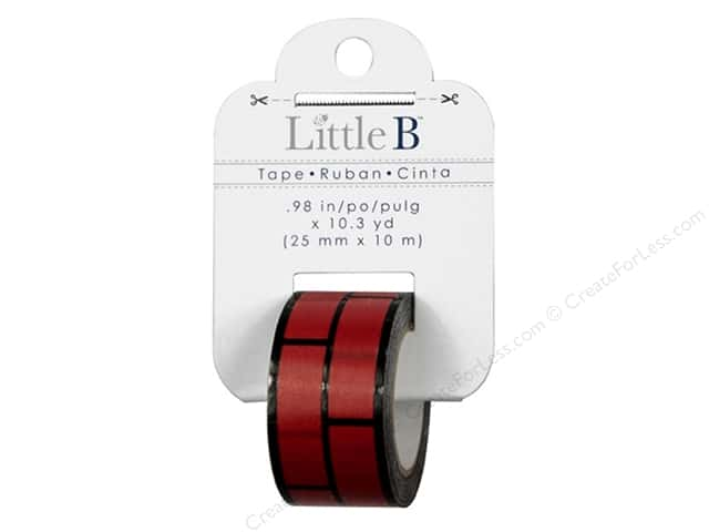 Little B Decorative Paper Tape 1 in. Black Foil Red Brick