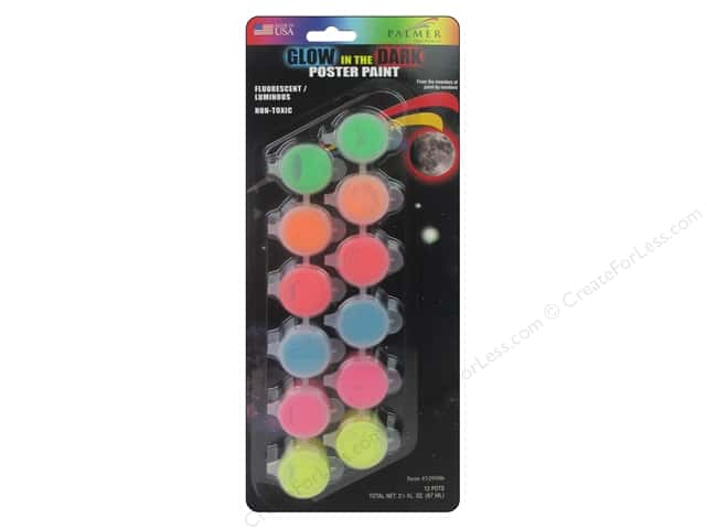 Palmer Washable Poster Paint Set 12 Pot Kids Glow-in-the-Dark