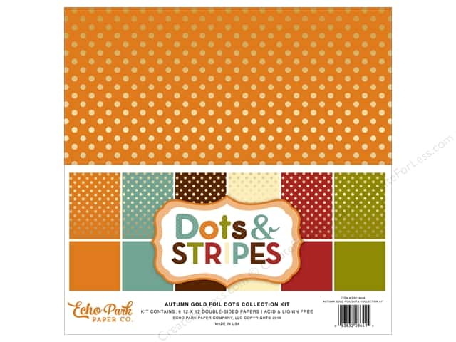 Echo Park 12 x 12 in. Collection Kit Dots & Stripes Autumn Gold Foil