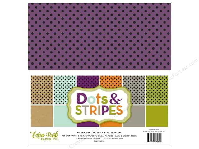 Echo Park 12 x 12 in. Collection Kit Dots & Stripes Black Foil