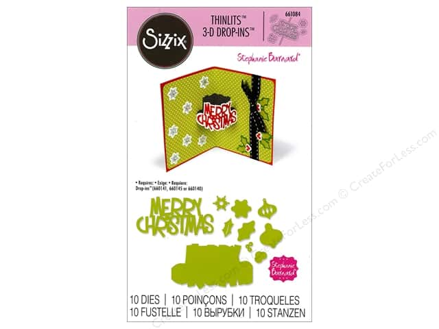 Sizzix Thinlits Die Set 10 pc. Merry Christmas 3-D Drop-ins Sentiment