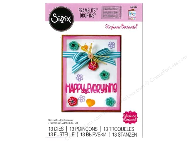 Sizzix Framelits Die Set 13 pc. Card Front with Block Words Drop-ins