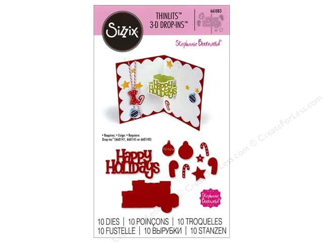 Sizzix Thinlits Die Set 10 pc. Happy Holidays 3-D Drop-ins Sentiment