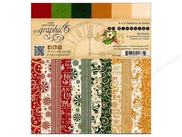 Graphic 45 6 x 6 in. Paper Pad St Nicholas Patterns & Solids