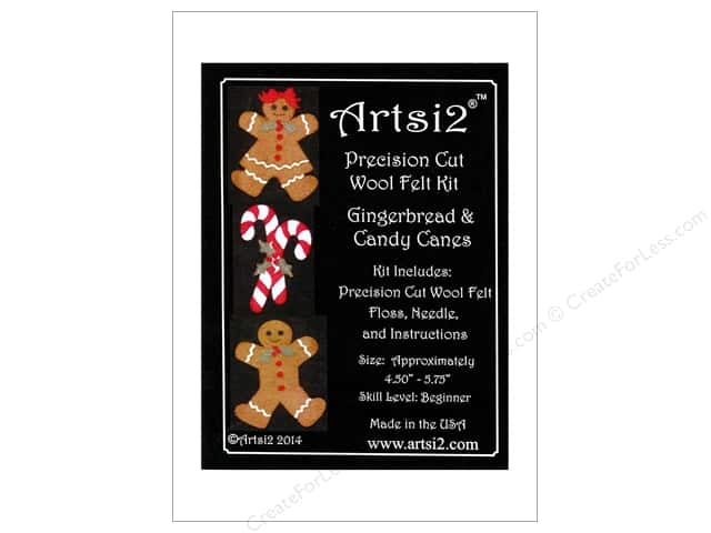 Artsi2 Wool Felt Kit Gingerbread & Candy Canes