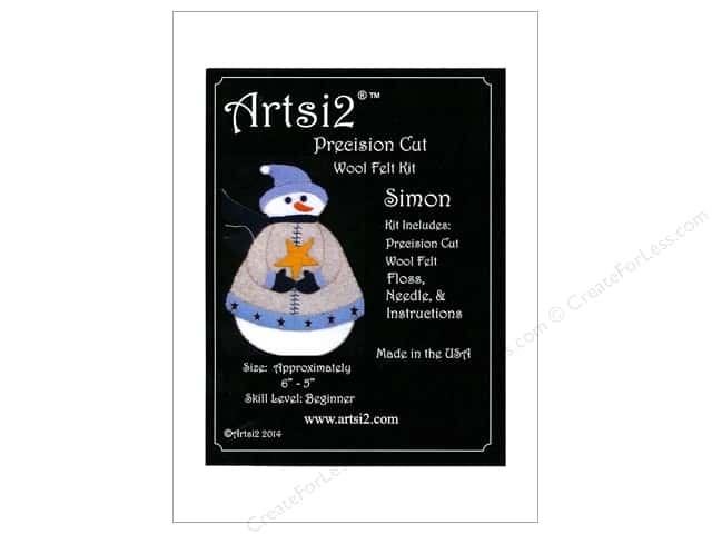 Artsi2 Precision Cut Wool Felt Kit Christmas Ornaments Snowman Simon