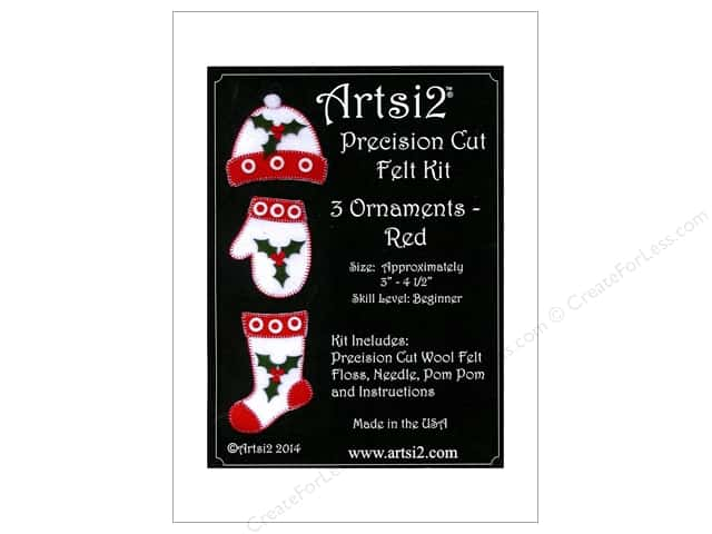 Artsi2 Precision Cut Wool Felt Kit Christmas Ornaments Red