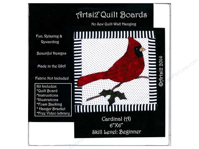 Artsi2 Quilt Board No Sew Quilt Wall Hanging Kit 6 x 6 in. Cardinal