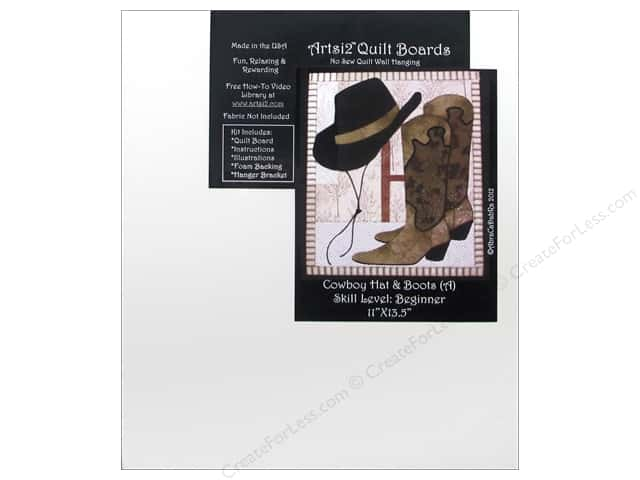 Artsi2 Quilt Board No Sew Quilt Wall Hanging Kit 11 x 13 1/2 in. Cowboy Hat & Boots