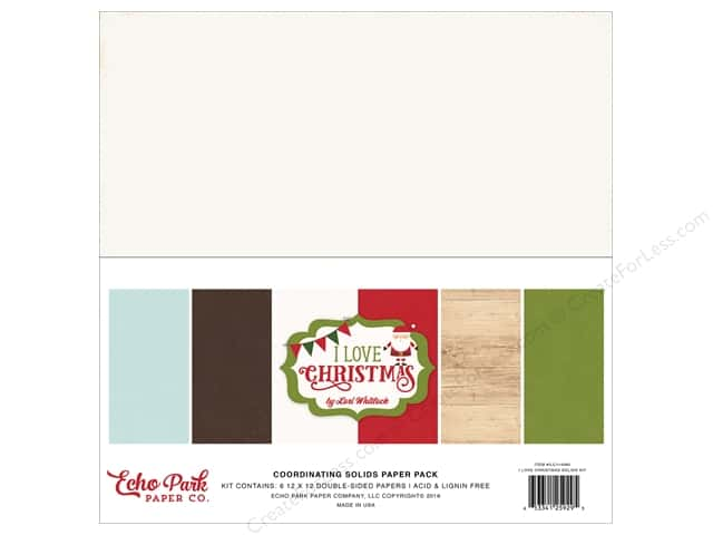 Echo Park 12 x 12 in. Paper Pack I Love Christmas Coordinating Solids