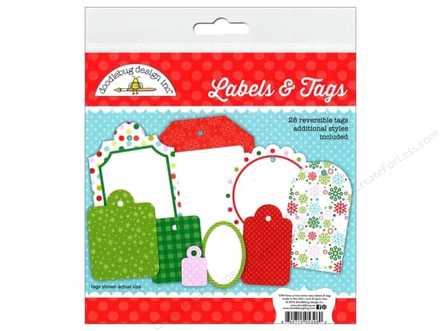Doodlebug Labels & Tags Here Comes Santa Claus