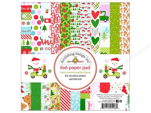Doodlebug 6 x 6 in. Paper Pad Here Comes Santa Claus