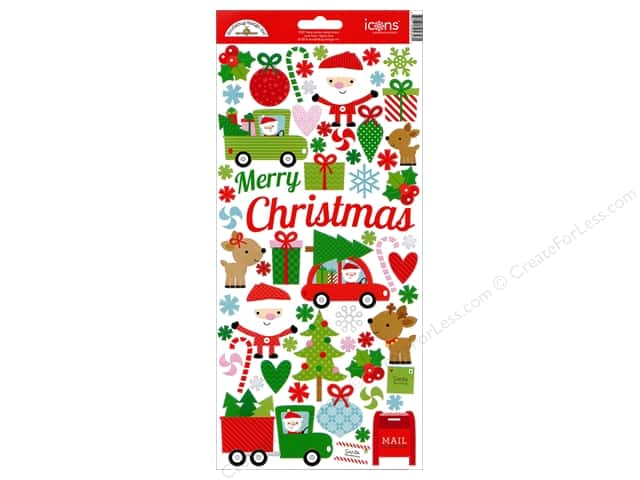 Doodlebug Sticker Here Comes Santa Claus Icons