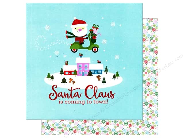 Doodlebug 12 x 12 in. Paper Here Comes Santa Claus Frosty Flakes (25 sheets)