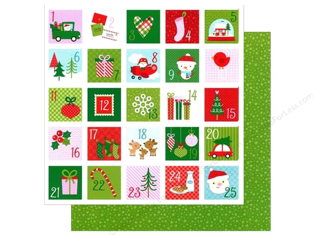 Doodlebug 12 x 12 in. Paper Here Comes Santa Claus Christmas Countdown (25 sheets)
