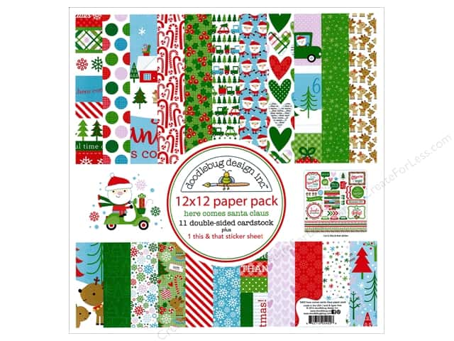 Doodlebug 12 x 12 in. Paper Pack Here Comes Santa Claus