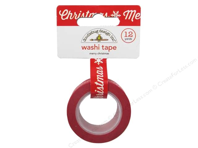 Doodlebug Washi Tape 5/8 in. x 12 yd. Here Comes Santa Claus Merry Christmas