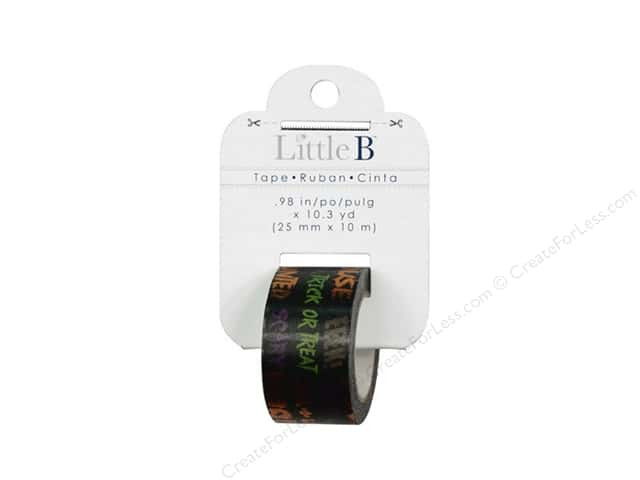 Little B Decorative Paper Tape 1 in. Orange Foil Halloween Words