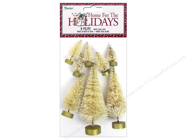 Darice Holiday Christmas Sisal Tree White 8pc