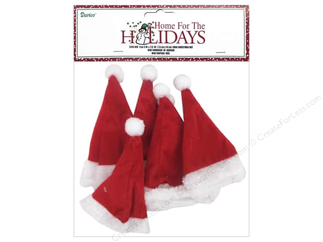 Darice Decor Holiday Mini Christmas Hat 6pc