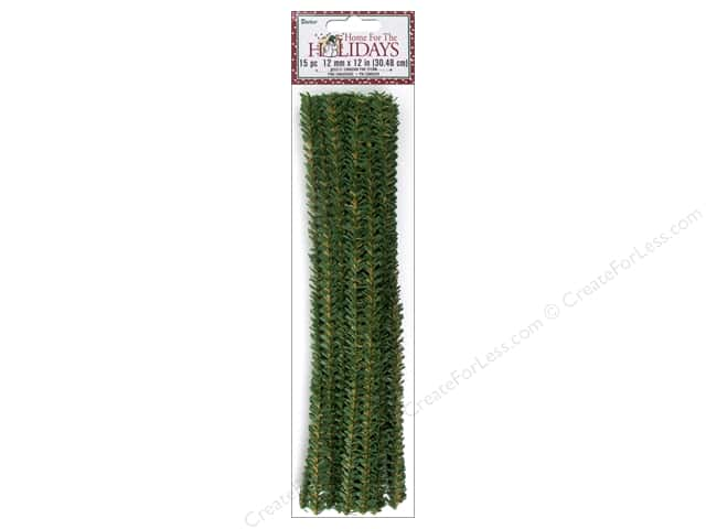 "Darice Chenille Stems Holidays 12mm 12"" Canadian Pine 15pc"