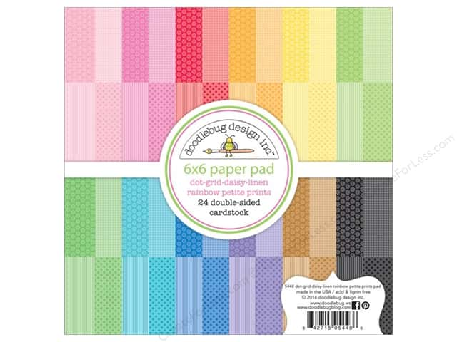 Doodlebug 6 x 6 in. Paper Pad Petite Prints Linen Dot Grid Daisy Rainbow
