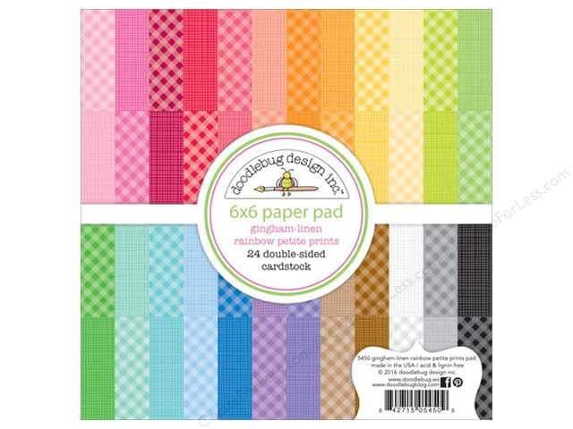Doodlebug 6 x 6 in. Paper Pad Petite Prints Gingham Linen Rainbow