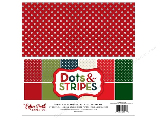 Echo Park 12 x 12 in. Collection Kit Dots & Stripes Christmas Silver Foil
