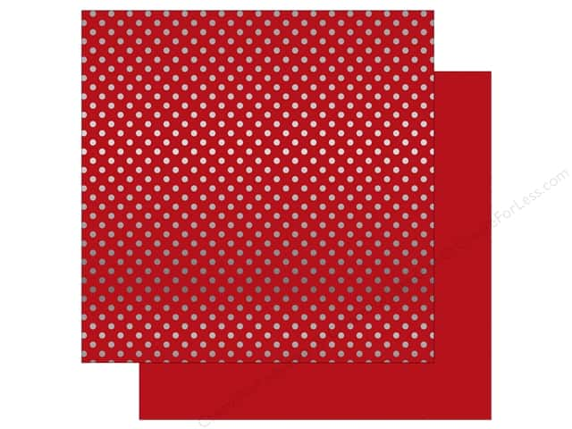 Echo Park 12 x 12 in. Paper Dots & Stripes Christmas Silver Foil Dark Red (25 sheets)