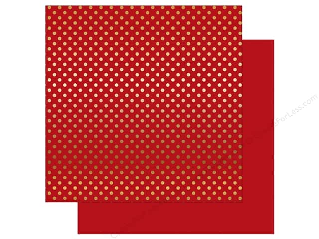 Echo Park 12 x 12 in. Paper Dots & Stripes Christmas Gold Foil Dark Red (25 sheets)
