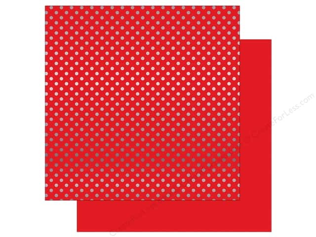 Echo Park 12 x 12 in. Paper Dots & Stripes Christmas Silver Foil Berry (25 sheets)