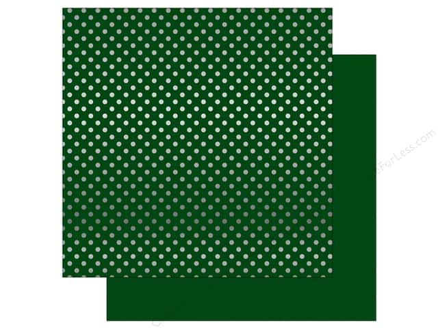 Echo Park 12 x 12 in. Paper Dots & Stripes Christmas Silver Foil Dark Green (25 sheets)