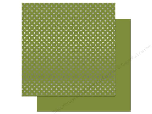 Echo Park 12 x 12 in. Paper Dots & Stripes Christmas Silver Foil Olive Green (25 sheets)