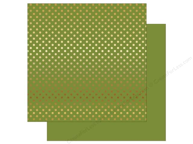 Echo Park 12 x 12 in. Paper Dots & Stripes Autumn Gold Foil Olive Green (25 sheets)