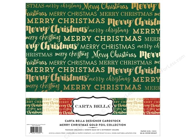 Carta Bella 12 x 12 in. Collection Kit Merry Christmas Gold Foil