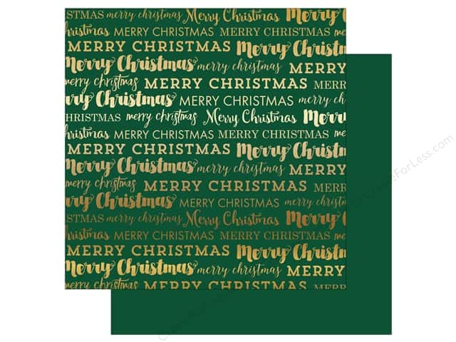 "Carta Bella Collection Merry Christmas Paper 12""x 12"" Gold Foil Green (15 sheets)"