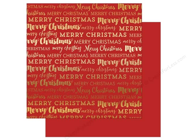 "Carta Bella Collection Merry Christmas Paper 12""x 12"" Gold Foil Red (15 sheets)"