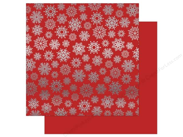Carta Bella 12 x 12 in. Paper Let It Snow Silver Foil Red (15 sheets)