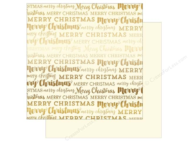 "Carta Bella Collection Merry Christmas Paper 12""x 12"" Gold Foil Cream (15 sheets)"