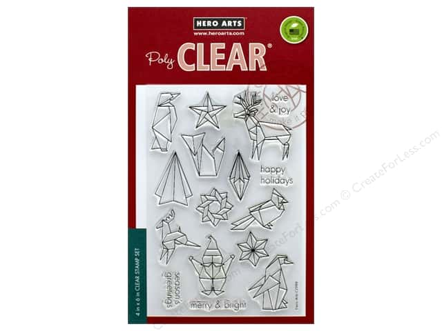 Hero Arts Poly Clear Stamp Origami Happy Holidays
