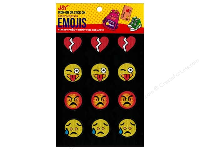 Joy Applique Iron On/Stick On Emojis #6 3 each/4