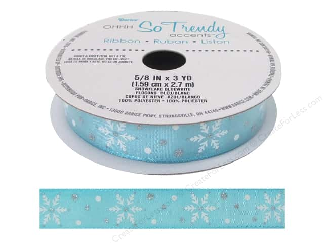 "Darice Ribbon 5/8"" Snowflake Blue/White 3yd"