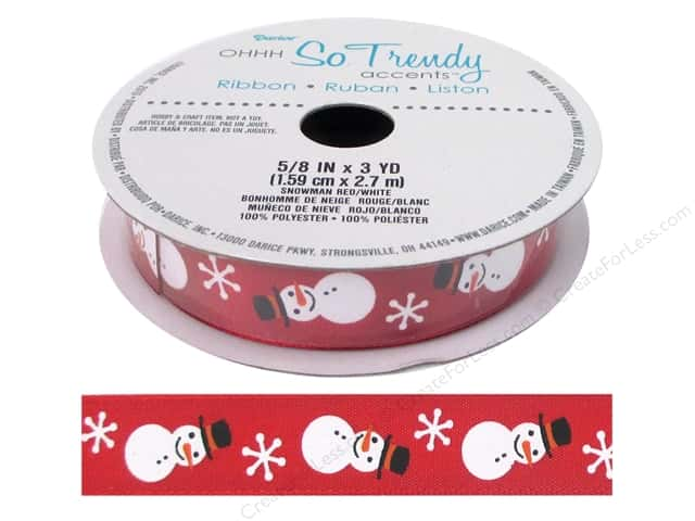 "Darice Ribbon 5/8"" Snowman Red/White 3yd"