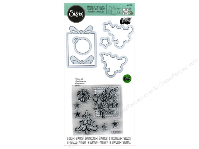 Sizzix Die & Stamp Lindsey Serata Framelits Candy Cane Wishes