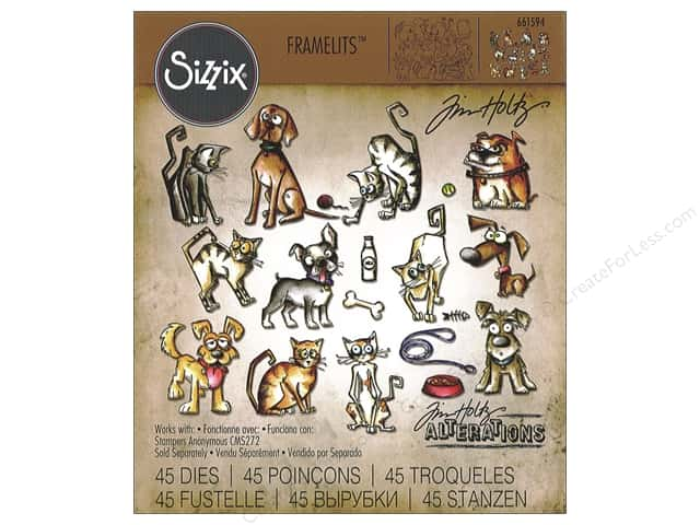 Sizzix Die Tim Holtz Framelits Mini Cats & Dogs Crazy