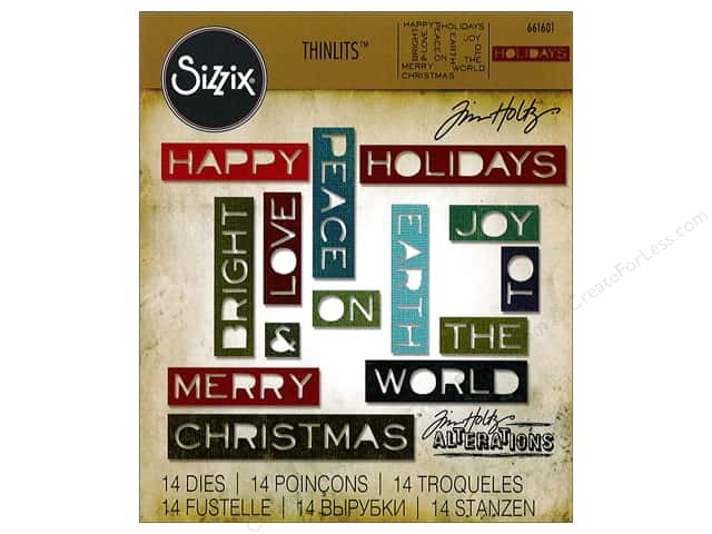 Sizzix Thinlits Die Set 14 pc. Holiday Words #2: Thin