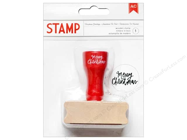 American Crafts Wood Stamp All Wrapped Up Christmas Greetings