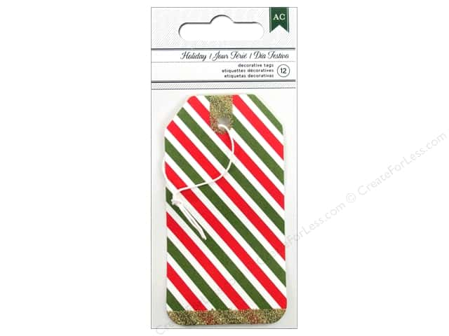 American Crafts Decorative Tags 12 pc. All Wrapped Up Holiday
